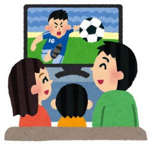 free-illustration-family-tv-soccer-irasutoya